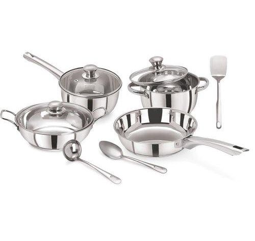 Pristine Tri Ply Induction Base Cooking Essential Stainless Steel Cookware Set